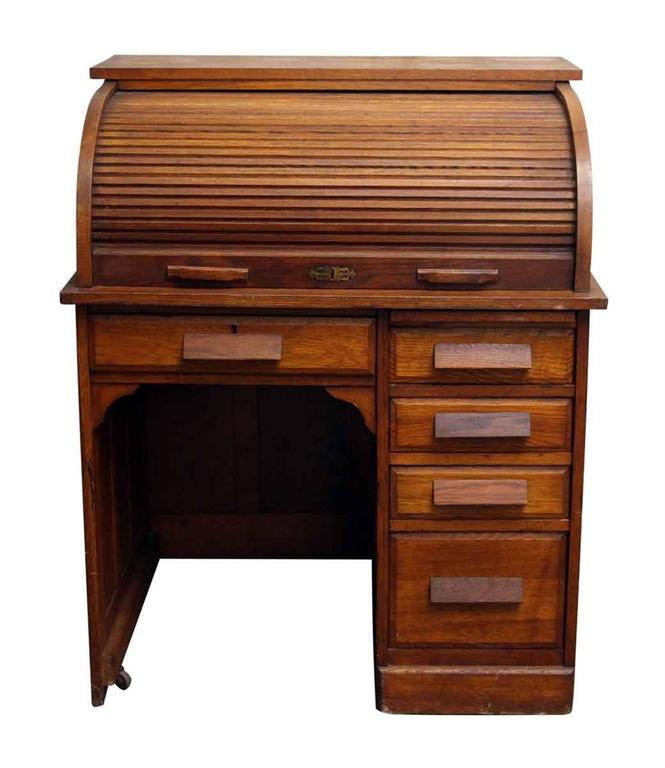 1920s Solid Oak Roll Top Desk With Recessed Panels On The Sides And Back Five