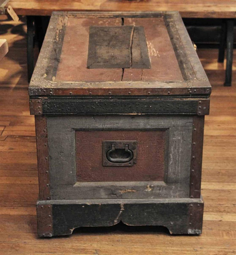 1800s, wood tool chest trunk from New England still has the original old distressed paint. Comes with original hardware. This can be seen at our 1800 South Grand Avenue location in Los Angeles, CA