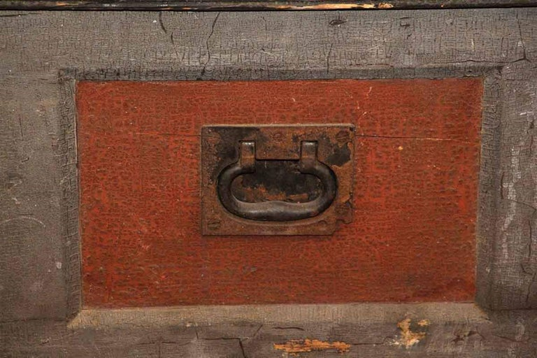 Industrial 1800s, Wood Tool Chest Trunk with Original Paint from New England For Sale