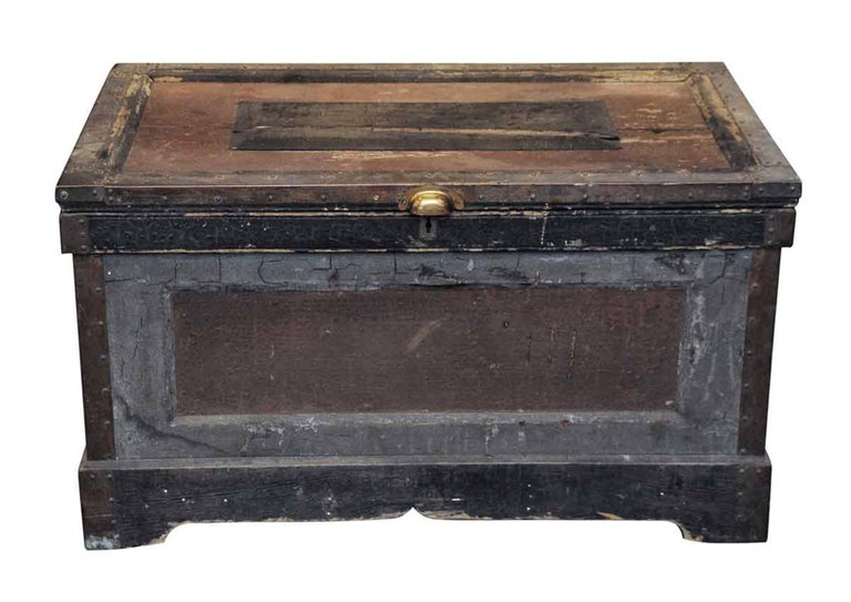 19th Century 1800s, Wood Tool Chest Trunk with Original Paint from New England For Sale