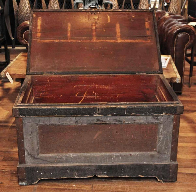 1800s, Wood Tool Chest Trunk with Original Paint from New England For Sale 1