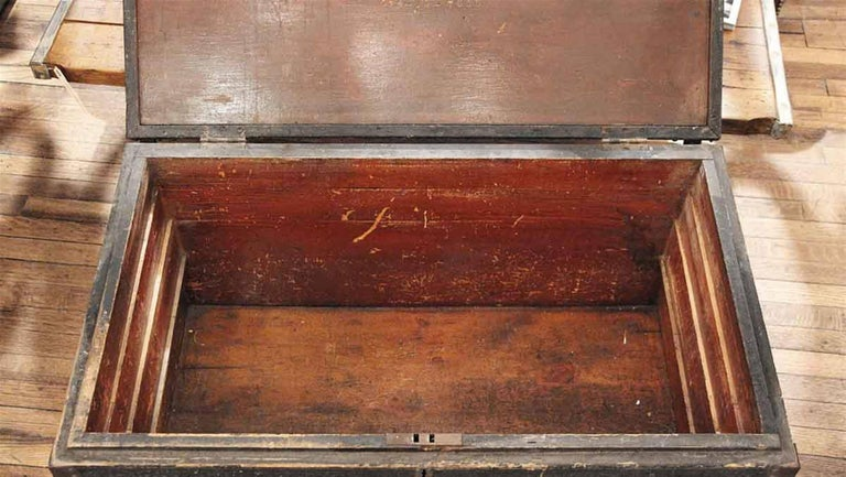 1800s, Wood Tool Chest Trunk with Original Paint from New England For Sale 2