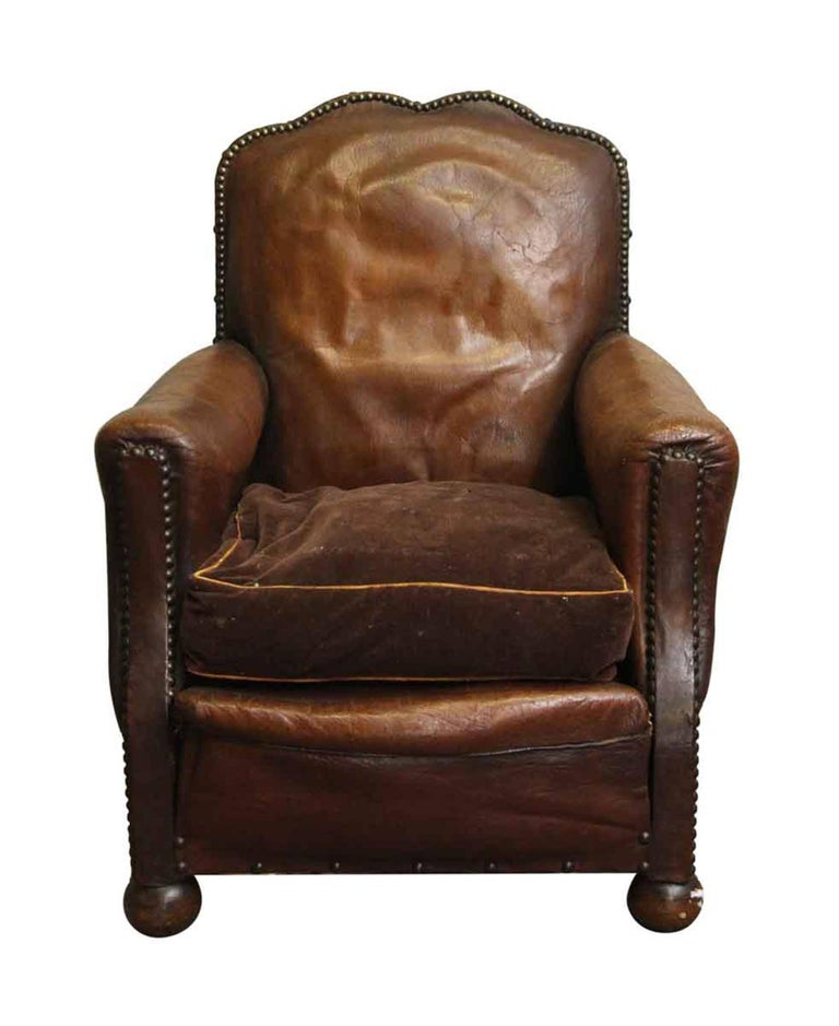 1940s French Single Vintage Brown Leather Club Chair For