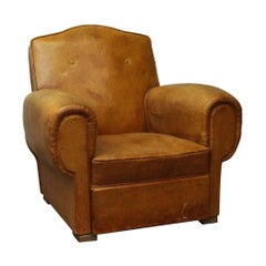 1960s Single Brown French Studded Back Club Chair