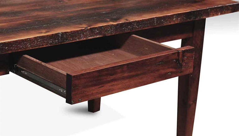 Pine Farm Table With One Drawer And Tapered Legs Provincial Stain In Excellent Condition For