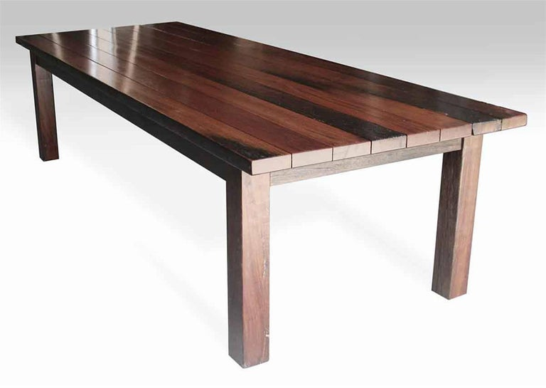 ipe wood decking plank farm table with square legs from the south street seaport for sale at 1stdibs. Black Bedroom Furniture Sets. Home Design Ideas