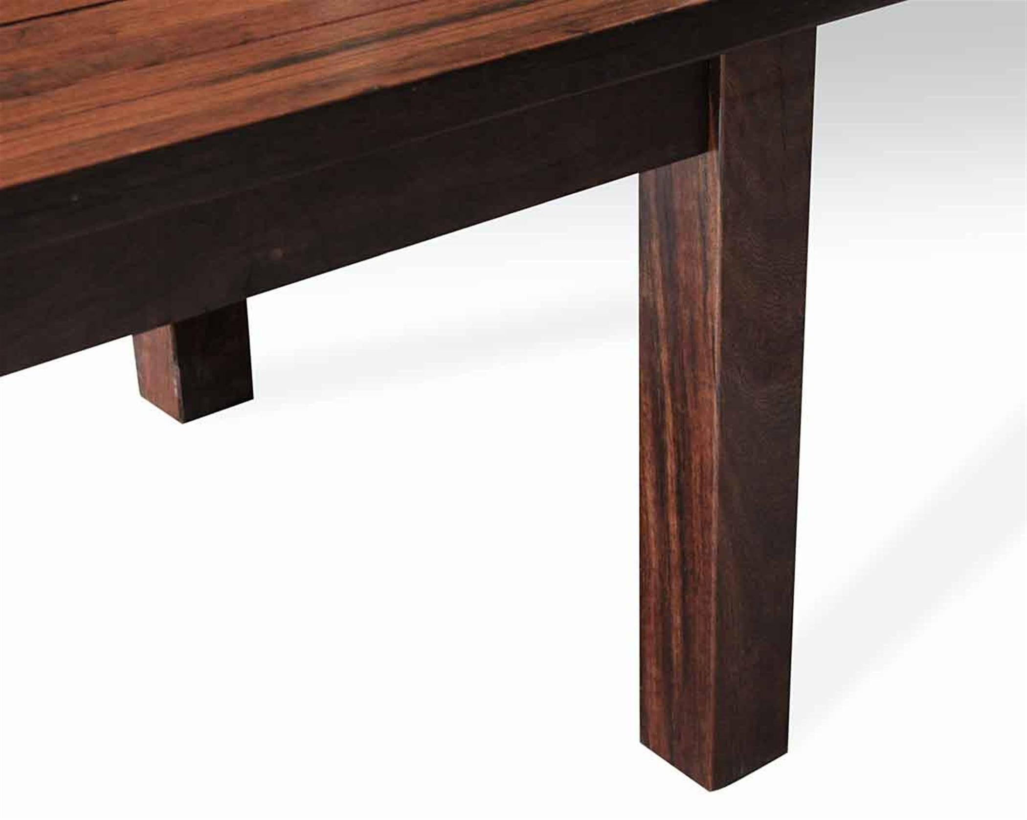 Ipe Wood Decking Plank Farm Table With Square Legs From The South Street  Seaport For Sale
