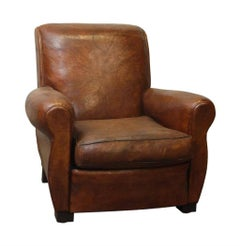 1990s French Brown Leather Club Chair with Slight Distressing