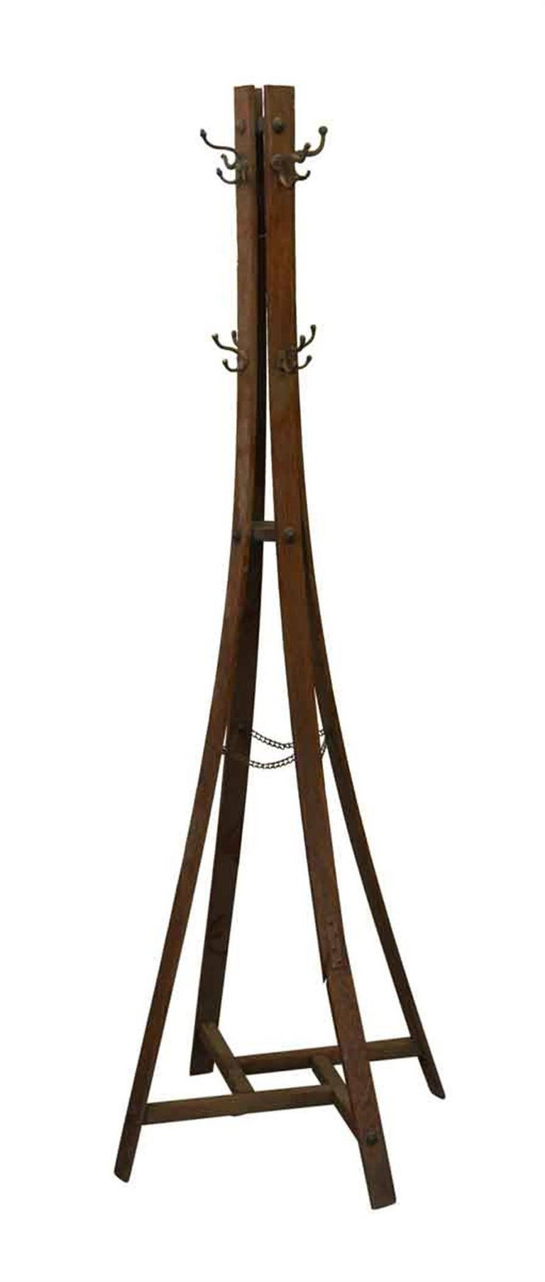 Early 1900s Craftsman Style Wooden Coat Tree With Eight
