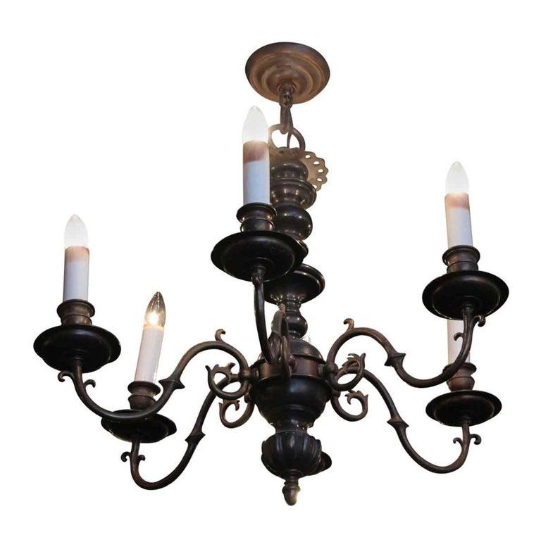 1940s six arm classic williamsburg bronze chandelier with a dark 1940s six arm classic williamsburg bronze chandelier with a dark bronze finish for sale aloadofball Image collections