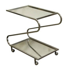 1970s Mid-Century Modern French Chrome Bar Cart with Mirrored Shelves