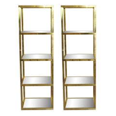 1970s Pair of Tall Polished Brass and Glass Étagère from Paris, France