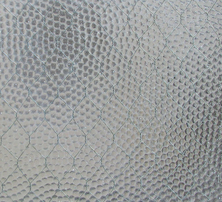 Industrial 1920s 'Pebbled' Vintage Chicken Wire Glass For Sale
