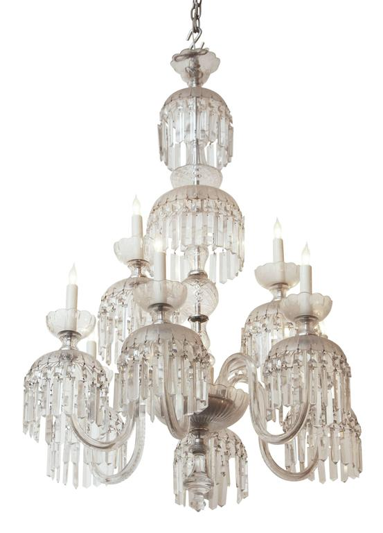 1890s Cut Crystal Chandelier Baccarat Style With Hanging Spear Crystals For Sale At 1stdibs