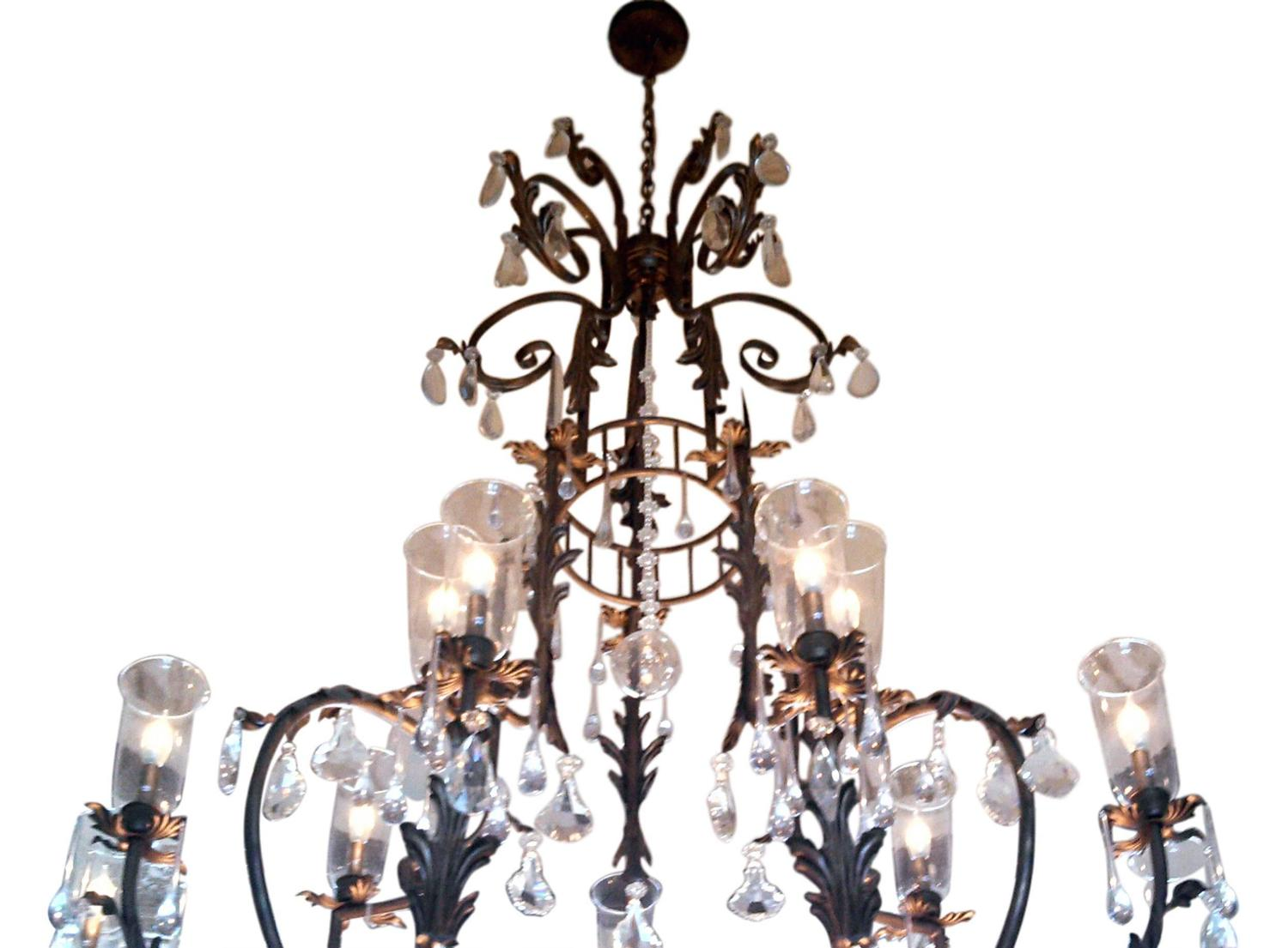 Wrought Iron Chandelier With Shades