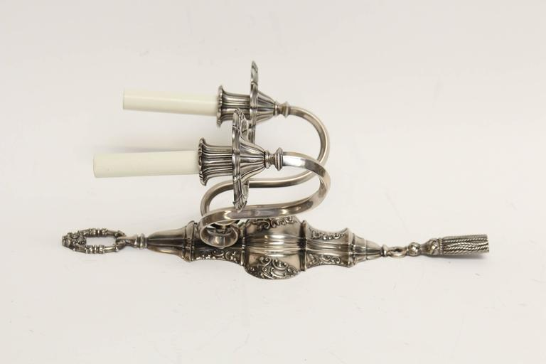 1920s Pair of Ornate Georgian EF Caldwell Two-Arm Silver over Bronze Sconces For Sale 2
