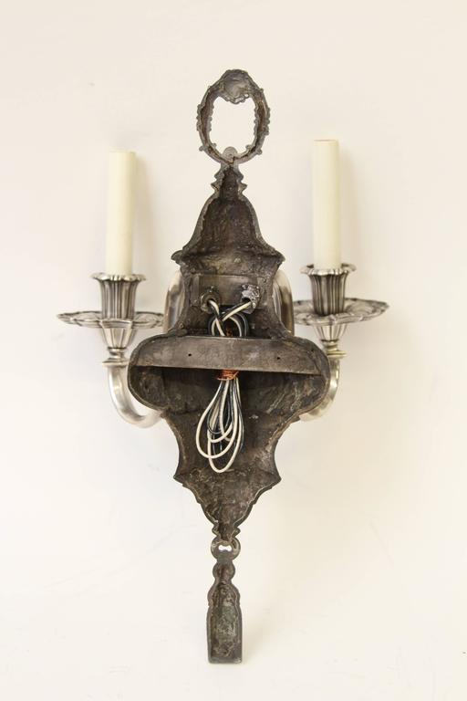 1920s Pair of Ornate Georgian EF Caldwell Two-Arm Silver over Bronze Sconces For Sale 4