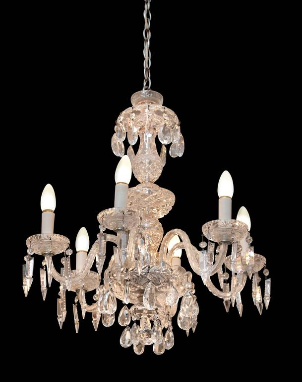 1940s six-light crystal chandelier with cut and etched crystals and body. Rewired. This item can be viewed at our 5 East 16th St location on Union Square.