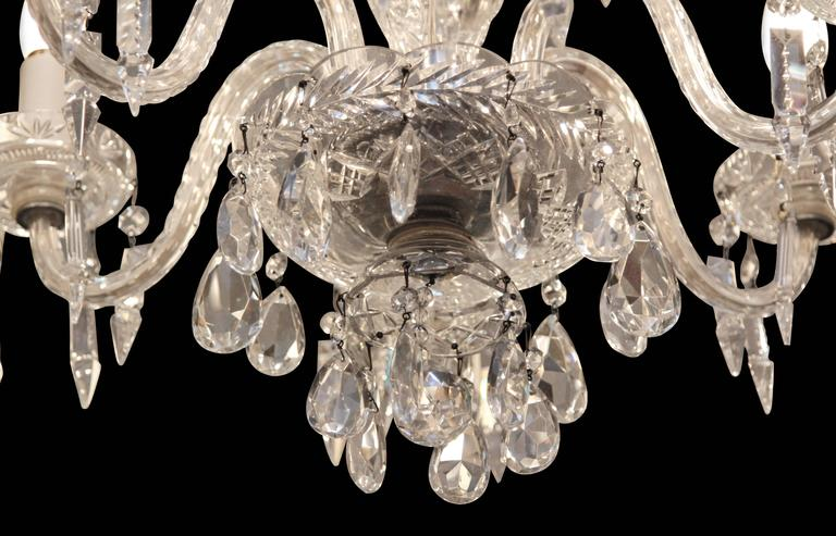 1940s Six-Light Crystal Chandelier with Cut and Etched Crystals In Excellent Condition In New York, NY