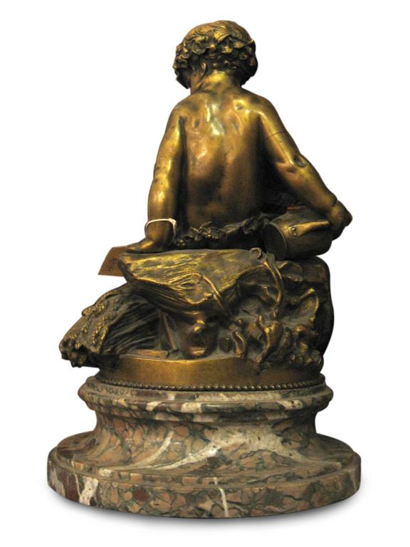 Rare 1850 Signed Pigalle Bronze Statue with Marble Base of Two Sitting Putti In Excellent Condition For Sale In New York, NY