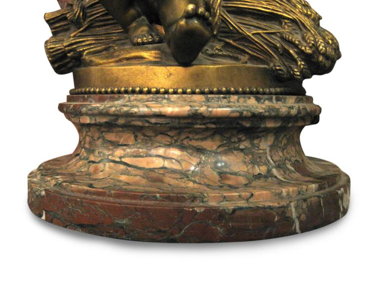 French Rare 1850 Signed Pigalle Bronze Statue with Marble Base of Two Sitting Putti For Sale