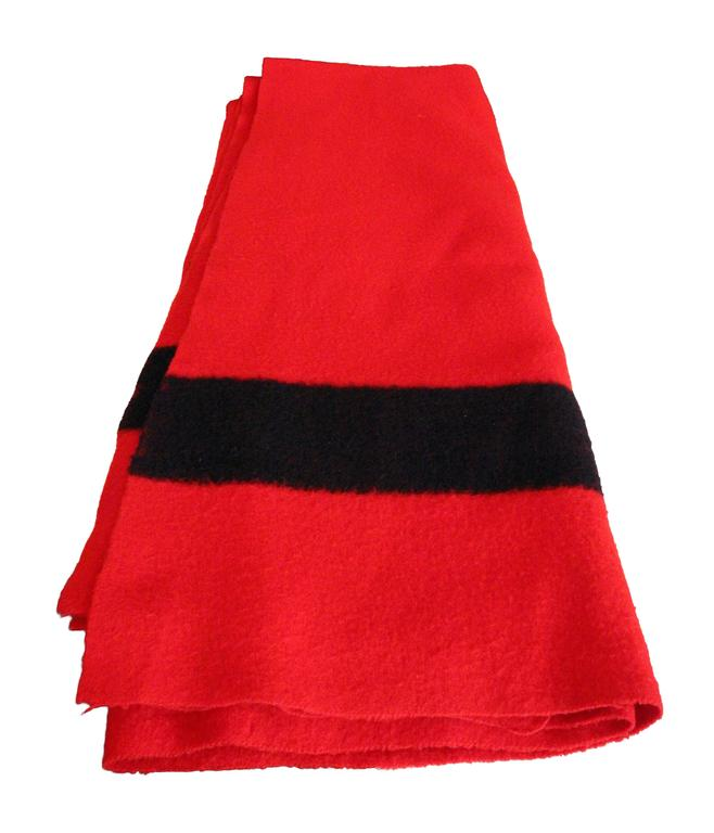 Hudson Bay Company Red Wool Blanket with Four Black Bands from England In Good Condition For Sale In New York, NY