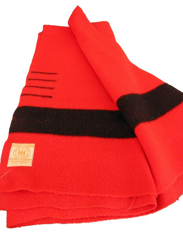 Hudson Bay Company Red Wool Blanket With Four Black Bands