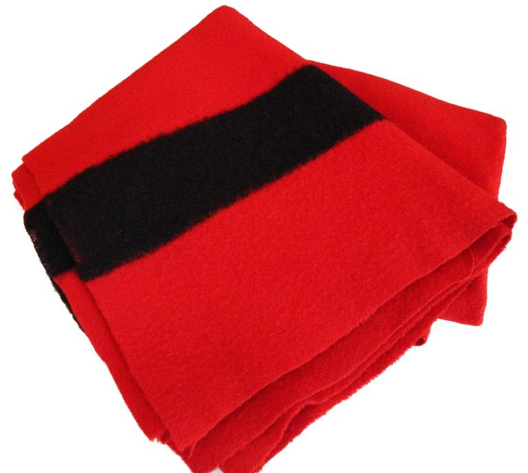 English Hudson Bay Company Red Wool Blanket with Four Black Bands from England For Sale
