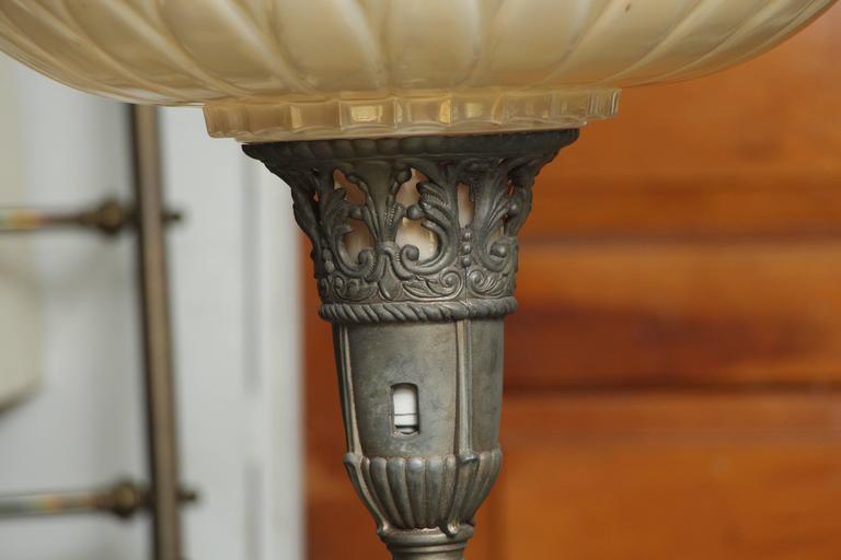1930s Art Nouveau Torchiere Floor Lamp With Marble Base