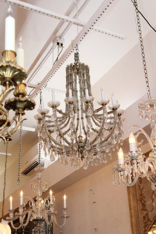 American 1940s Marie Therese Sixteen-Light Crystal Chandelier