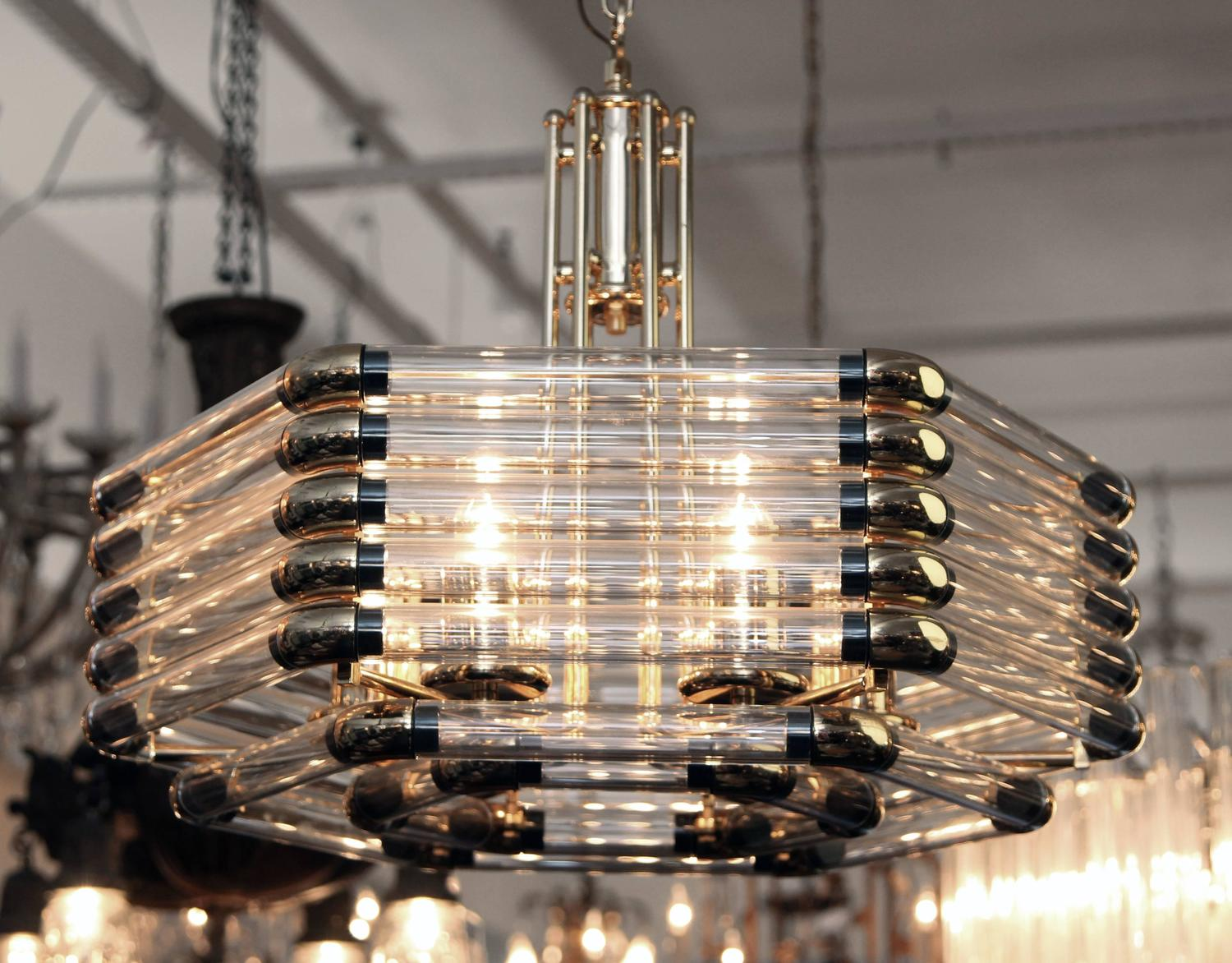 Mid Century Modern Italian Style Glass Light With Symmetrical Brass Fittings