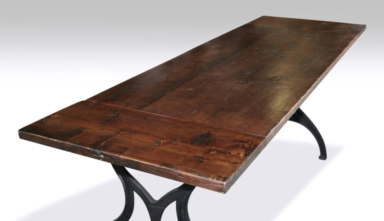 "Urban Farm Table with ""Brooklyn NY"" Industrial Machine Legs and Tw"