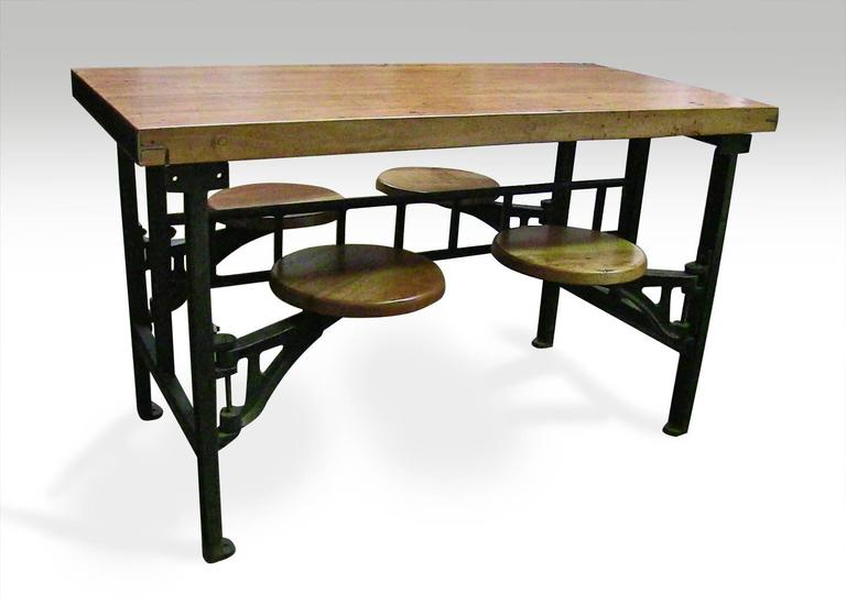 Custom-made per order. This style of base was typically used in a factory setting as an assembly line or cafeteria table in the early 1900s.  Olde Good Things replicated this base from an original set we salvaged from a 1940s industrial building.