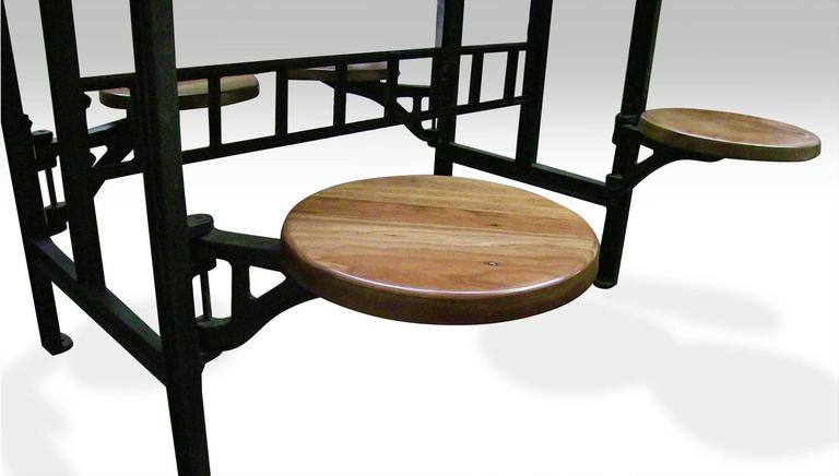 Cast Iron Swing Swivel Stool Industrial Factory Table with Four Stools For Sale 1