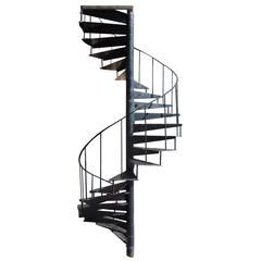 Industrial Cast Iron Spiral Staircase with 22 Diamond Pattern Steps and Pole