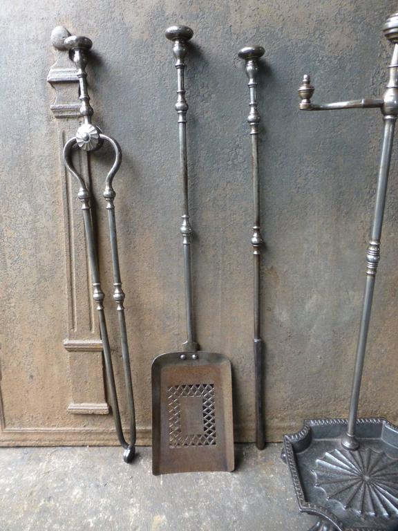 19th century english fireplace tools or fireplace tool set of polished steel 3
