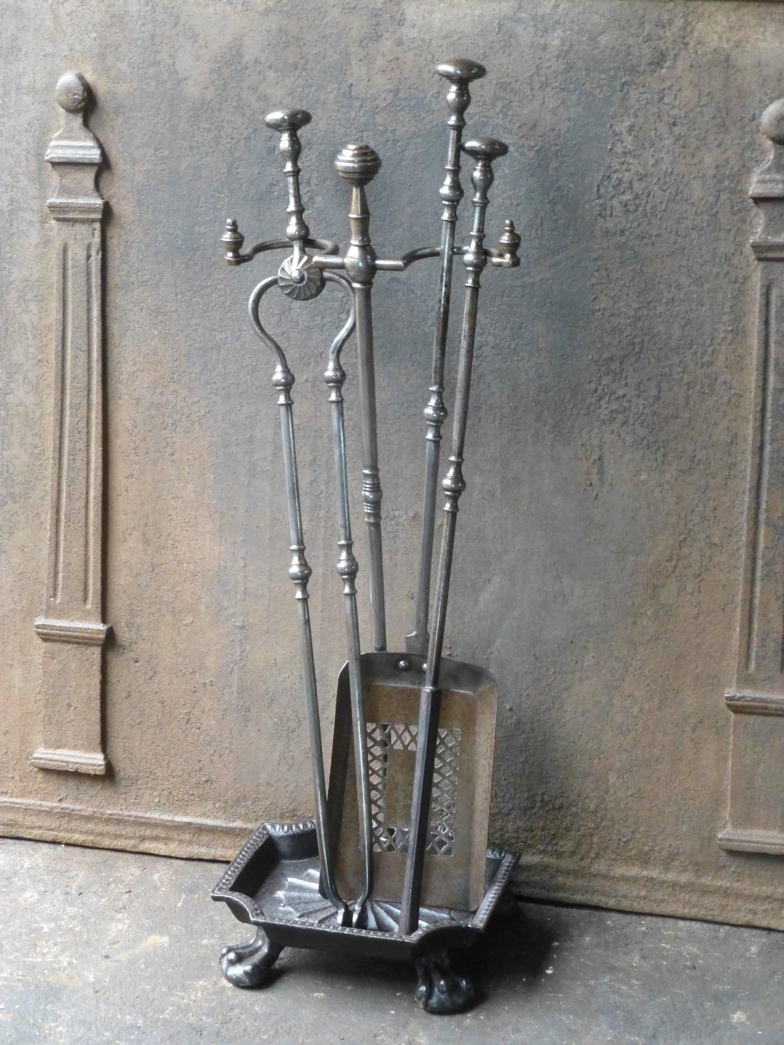 Th century english fireplace tools or tool set