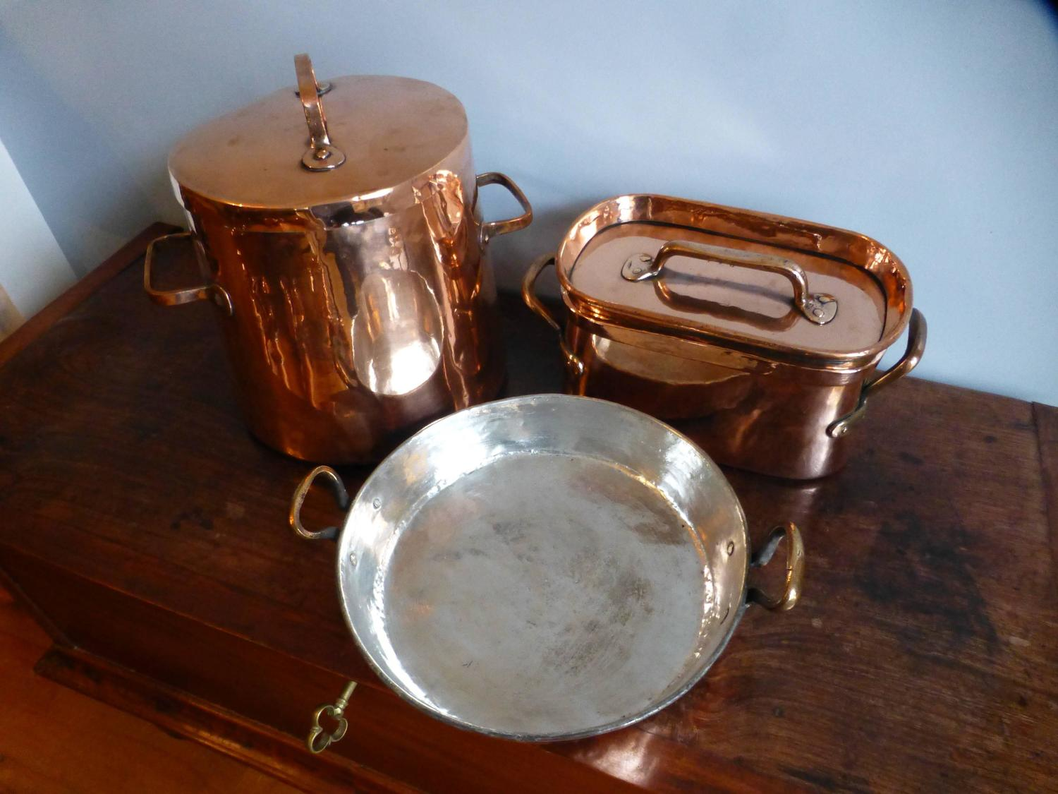 Antique Re Tinned Stock Pot And Stewing Pots For Sale At