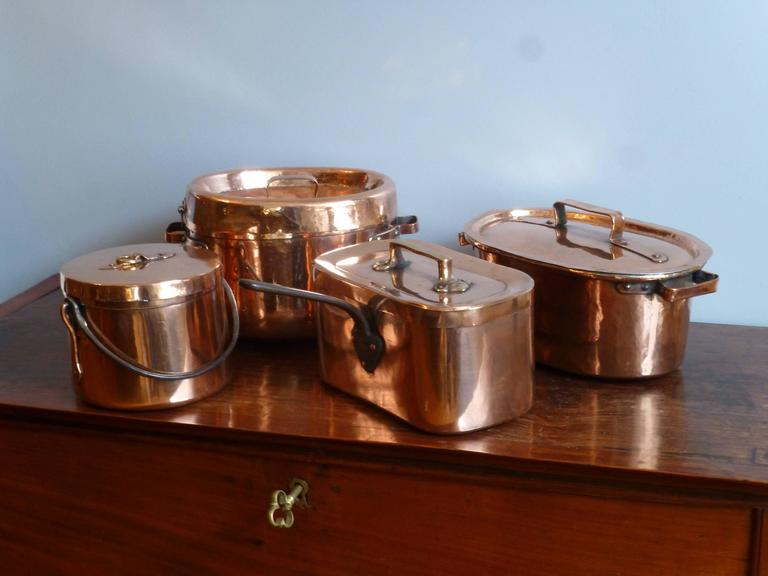 Magnificent French Set Of Re Tinned Copper Pans Copper