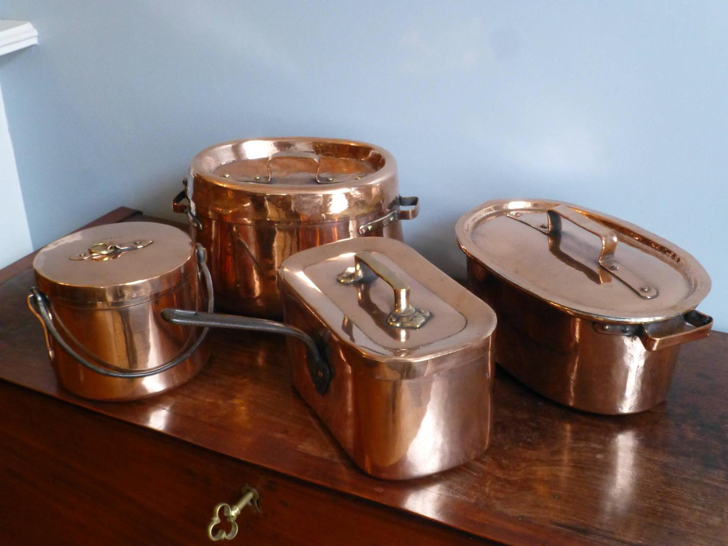 magnificent french set of re tinned copper pans copper. Black Bedroom Furniture Sets. Home Design Ideas