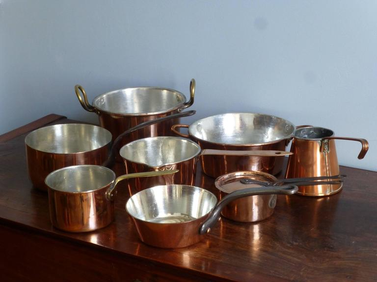 Small batterie de la cuisine of re tinned copper pans and for Art and cuisine cookware