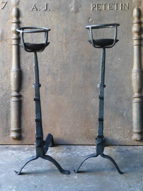 17th century large gothic cupdogs firedogs andirons for sale at 1stdibs - 17th century french cuisine ...