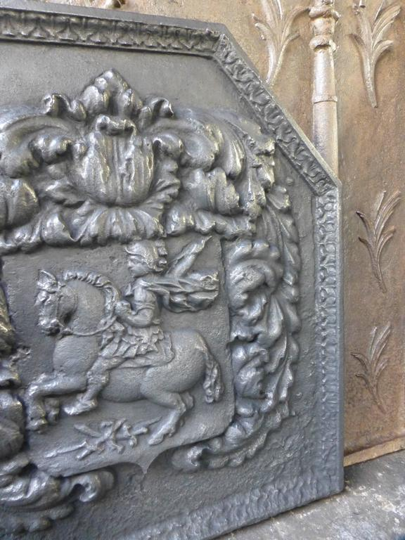 Louis XIV 17th Century Arms Fireback For Sale