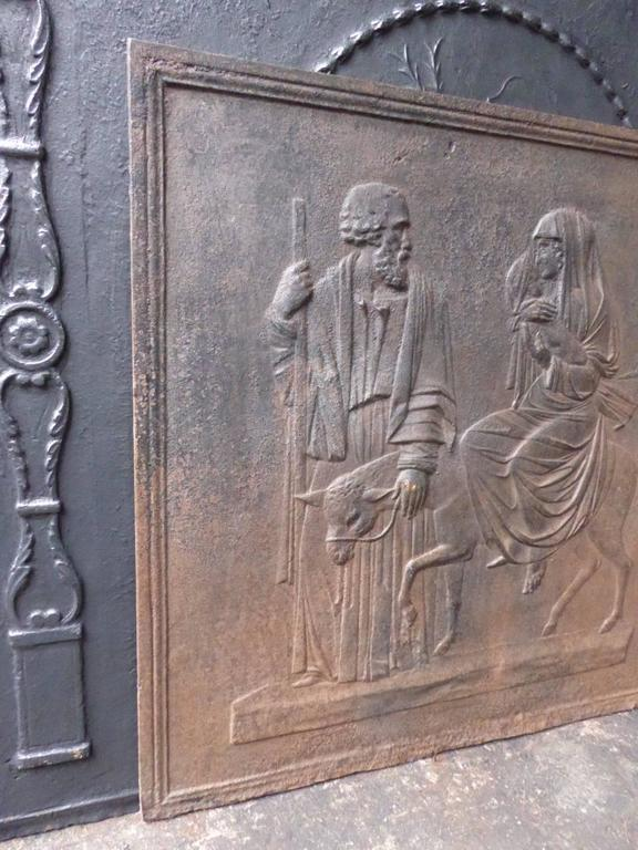 19th century French fireback with Mary and Joseph.