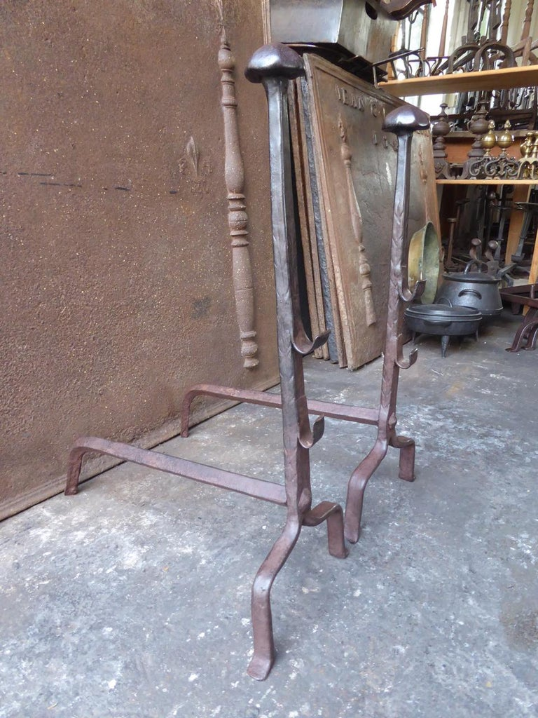 Wrought Iron 17th Century French Gothic Andirons or Firedogs For Sale