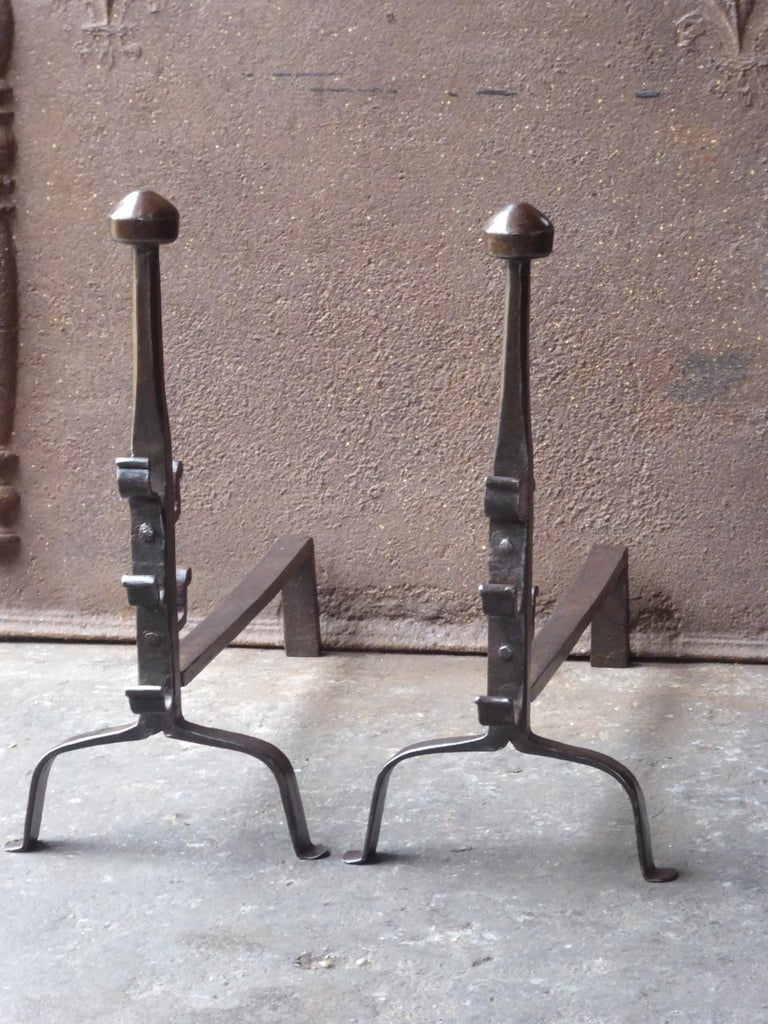Forged 17th-18th Century French Gothic Andirons or Firedogs For Sale