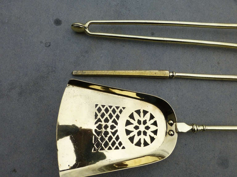 Set of English Polished Brass and Red Copper Fire Tools For Sale 2