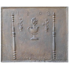 Antique Fireback with Pillars and Flower Baskets, Dated 1803