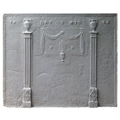 Antique Neoclassical Fireback with Pillars of Freedom, Dated 1829