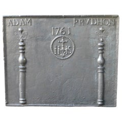 Antique Fireback with Medieval  IHS Monogram, Dated 1761